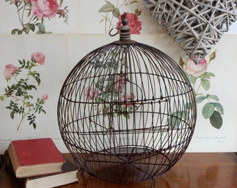 Vintage Rustic French Wire Bird Cage , shabby chic, retro , boho, Hanging Bird Cage, Vintage planter.