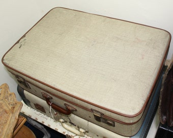 Vintage  Suitcase, Brown and Cream, lovely to use for storage.Vintage Luggage, Retro, shabby chic