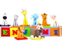 Personalized cubes with animals  // party or Cake Decoration / can be personalized with letters