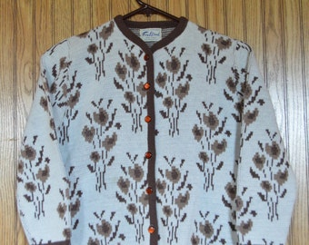 vintage Fox Wood floral cardigan and sleeveless sweater set (2 sweaters!)