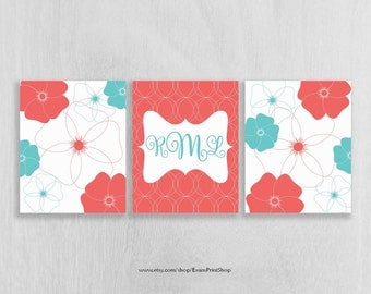 CANVAS Nursery Decor Set of 3 - Coral and Aqua Nursery - Monogram Wall Art - Bathroom Wall Art - Art for Girls - Dorm Room Art