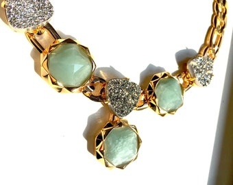 Aquamarine, Silver Druse on gold chains necklace