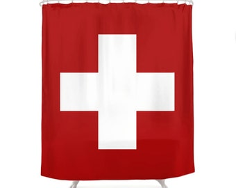 Swiss Cross Shower Curtain, 5 Colors Options, Minimal Geometry, Red, Geometric Decor, Nordic Style Curtain, Modern Bath, Minimalist Bathroom