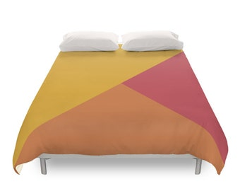 Mixed Geometric Tones Duvet Cover, 2 Color, Modern Minimal Design, Yellow Orange Red, Vintage Decor, Retro Bedding, Twin, Full, Queen, King