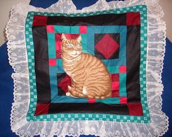Brown Tiger Striped Cat Pillow Top