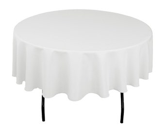 """White 70"""" Round Seamless Polyester Tablecloth For Wedding Restaurant Banquet Party Decorations"""