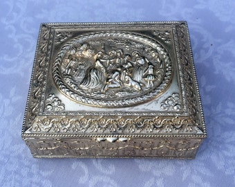 Gold toned ornate metal trinket box japan