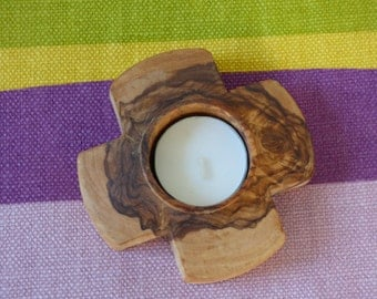 Olive Wood Tea Light Holder, cross-shaped