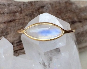 Summer Sale Blue rainbow moonstone and solid 18k gold ring