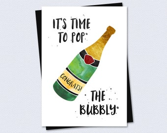Printable Congratulations Card - It's time to pop the bubbly - Instant PDF Download