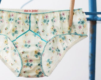 Blue Buttercup Modest Mildred a low rise, low leg cotton brief in Liberty London Tana Lawn. Lined with organic cotton. Cute summer knickers