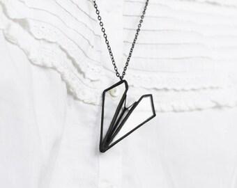 Paper airplane    . Airplane jewelry. Paper airplane necklace. Origami airplane necklace. Geometric jewelry. Origami jewelry. Pilot necklace