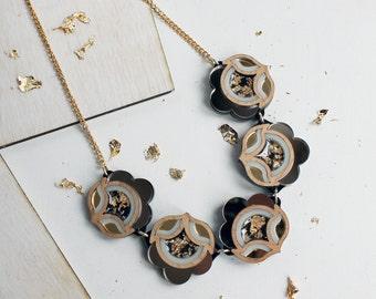 Flora Link Necklace: Bronze, Wood, Gold. Laser Cut Flower Statement Necklace. Mirror Acrylic Floral. Black, Cream, Gold Leaf, Cherry Wood..