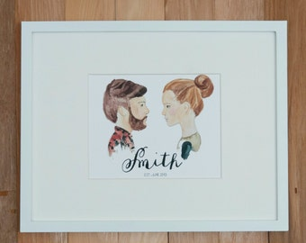 Custom Watercolor Couple Portrait