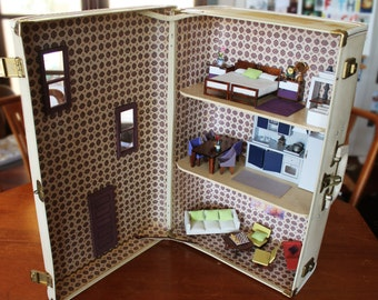 Vintage Suitcase Dollhouse: Upcycled Gorgeous Unique Dollhouse with Brinca Dada Furniture