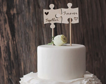 Wood Puzzle Piece Cake Topper - Wedding Cake Flags - Best Day Ever - Wooden Cake Topper - Rustic Wedding Cake Topper - Cake Topper