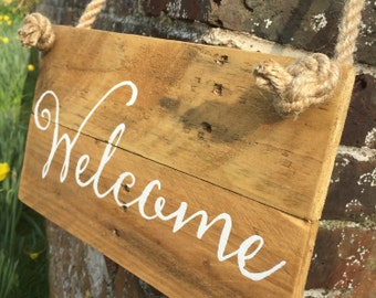 Wedding Rustic Welcome Sign, Wooden, hanging on Rope, Handpainted, Made to Order