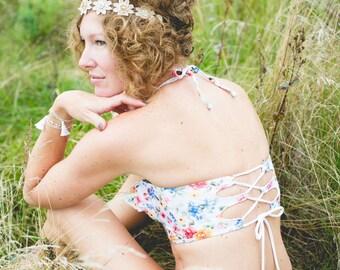 Garden Party Floral Bustier Bikini Top