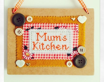 Mums kitchen wooden hanging plaque. Mothers day gift
