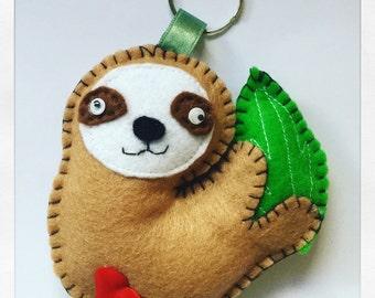 Handmade Hanging cute sloth felt keychain with fabric heart on his bottom