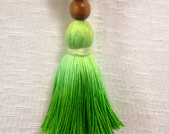 Handmade One of a Kind Two-Toned Brown Wooden Necklace with Green Ombre Tassel