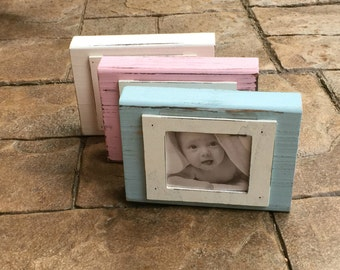 Baby picture frame Natural Distressed Wood Picture Frame in Blue, Pink, or White- Mud Pie