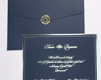 100 Blue and Silver Foil Printed Invitations **Sold in Packs of 100