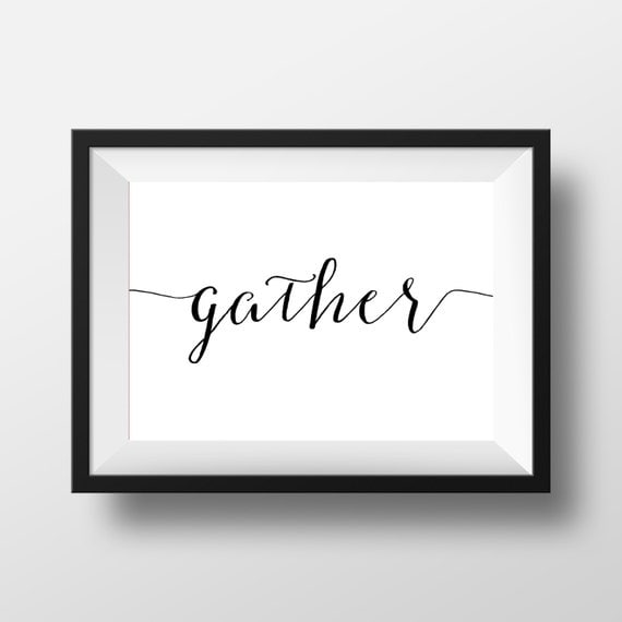 Gather print gather wall art home decor dining room print for Etsy dining room wall art