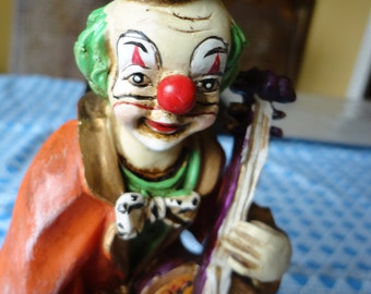 Clown with Cello Figurine