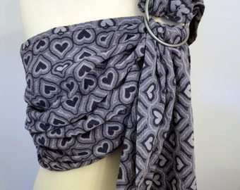 Pollora wrap conversion ring sling - Amore mars - 100% Cotton - white and navy (denim blue)
