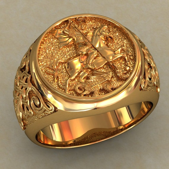 Sale 10 Saint George And The Dragon Mens Signet By