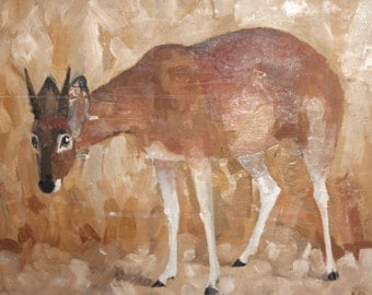 1992 oil painting antelope signed