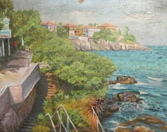 Oil painting vintage seascape landscape signed