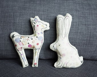 LINEN BAMBI and RABBIT. waldorf toy. stuffed toy. gift for children.