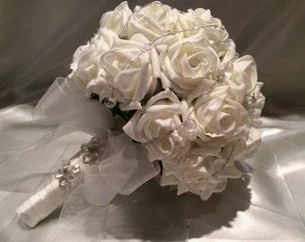 Ivory Rose Bouquet Wedding Flowers
