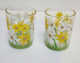 Hand-painted votive holders, garden flowers
