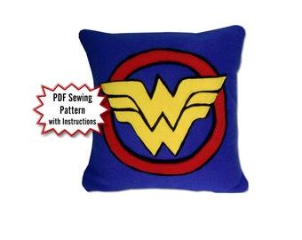 Wonder Woman Pillow PDF Pattern, DC Comics