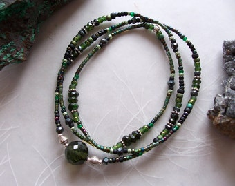 Green Tourmaline & Black Spinel Gemstone Delicate Dainty Wrap Bracelet ~ Stretchy ~ Necklace ~ Sterling Silver ~ Glass Seed Beads