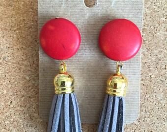 Studded red bead tassel earrings