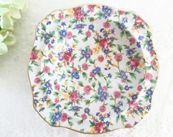 "Vintage Royal Winton Grimwades Bowl ""Old Cottage Chintz"": Tea Party Bowl, Vintage Bowl, Rimmed Soup Bowl, Square Bowl, Jewelry holder"