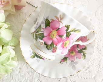 "Royal Albert ""Prairie Rose"" Teacup, Tea Party Teacup, English Teacup, Victorian Teacup, Floral Teacup"