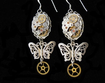 """BUCKLES of ears STEAMPUNK """"Butterfly"""" Silver Steampunk earrings """"Butterflies"""" silver (D23)"""