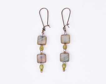 Czech glass tile earrings