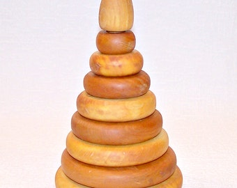 Wooden Stacking Toy. Toy Pyramide. Vintage Wood Ring Stacker. Nesting Toy.