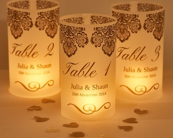 Damask Wedding Table Number Lanterns-wedding table decorations-wedding table luminaries-table number decorations for weddings-wedding