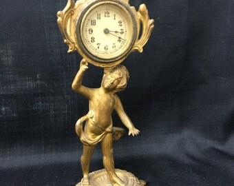 Gilt Cherub Clock Late 1800's ~ New Haven Clock Co.