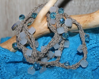 necklace or bracelet, crocheted linen with crystal and glass beads