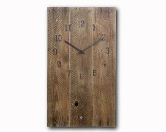 Old board clock, original clock, hand made clock, wooden clock, design clock, wall clock, rustic clock, clocks, unique wall clock