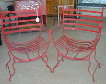 Red, rod iron chairs