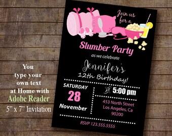 Slumber Birthday Party Invitation, INSTANT DOWNLOAD Printable invite, Editable PDF file A952